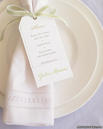 menu cards...love this idea of it around the napkin