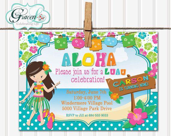 Luau Invitation, Luau Birthday Invitation, Luau Party, Luau Party Invitation, Pool Party, Pool Party Invitation, Summer Party Invitation