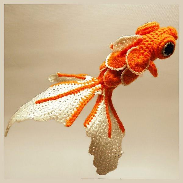 Crocheted Goldfish. Wow!Fish Pattern, The Maine, Crochet Stuff, Free Pattern, Crochet Fish, Crochet Goldfish, Crochet Pattern, Knits, Amigurumi