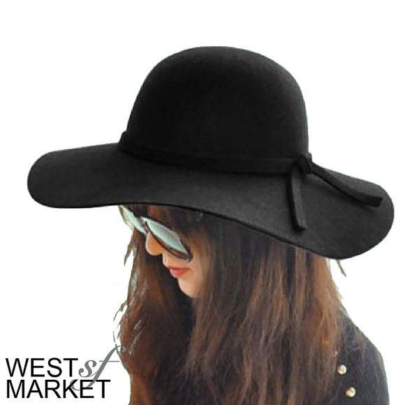-COMING SOON-  Floppy Felt Hat Black hat with floppy wide rim. Accent tie around the center. West Market SF Accessories Hats