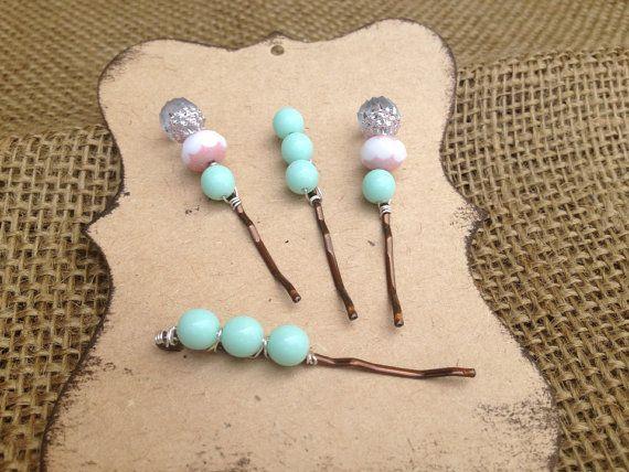 Bobby Pin Set // Mint Hair Pin // Pink hair by MindyReneeCreation, $12.00