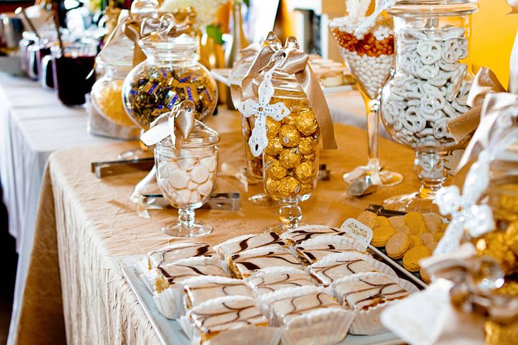 Gold Baptism or Christening Dessert & Candy Table Favor Ideas