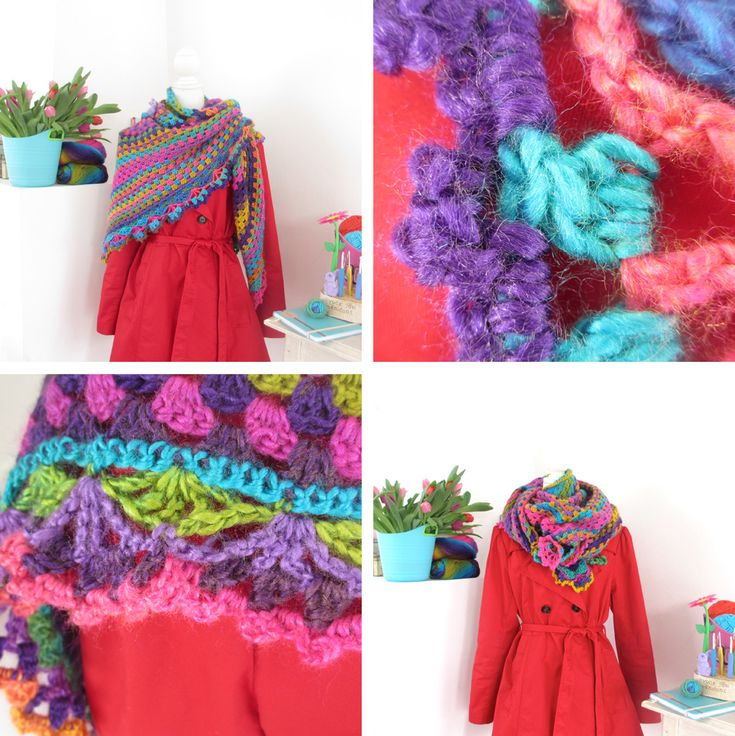 In november haakte ik voor Bloem een mini-regenboog-versie van mijn eigen herfst-sjaal. Nu heb ik van het zelfde garen een grotere omslagsjaal gemaakt, met een andere rand: Twee kleine paashaasjes ...