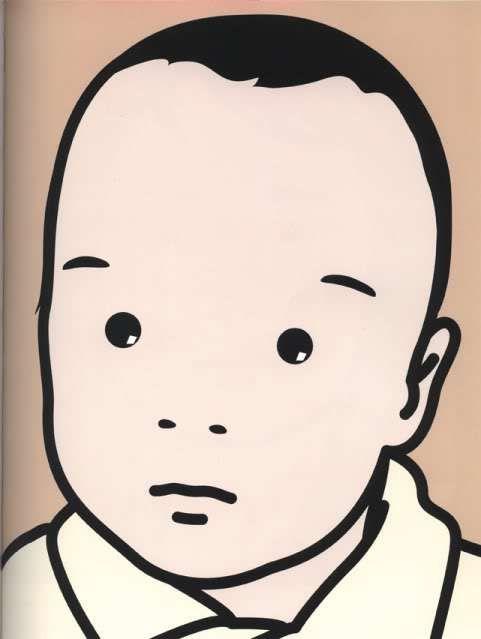 David, baby, 2001. Julian Opie (b. 1958). Vinyl on wooden stretcher, 192 x 152.9 cm. Collection of the artist.