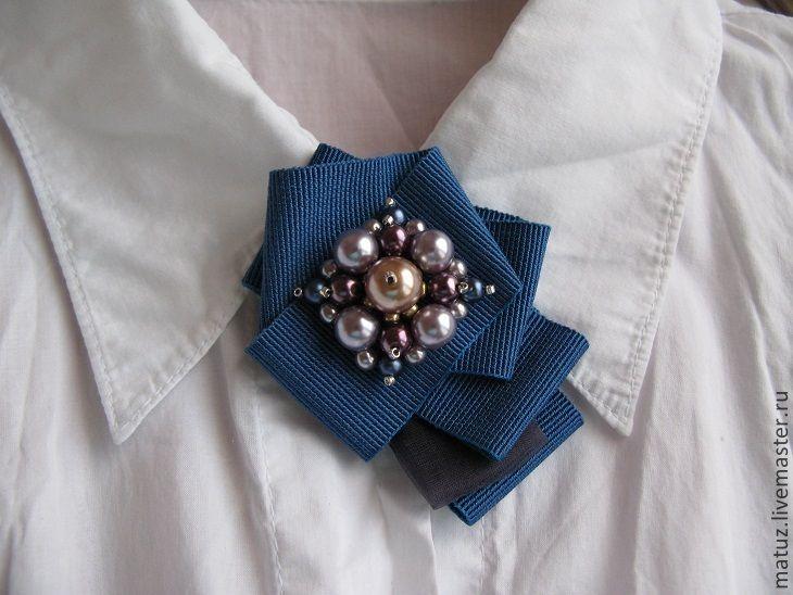 """Купить Брошь """"Летний вечер"""" - голубой, брошь ручной работы, брошь, брошь из ткани"""