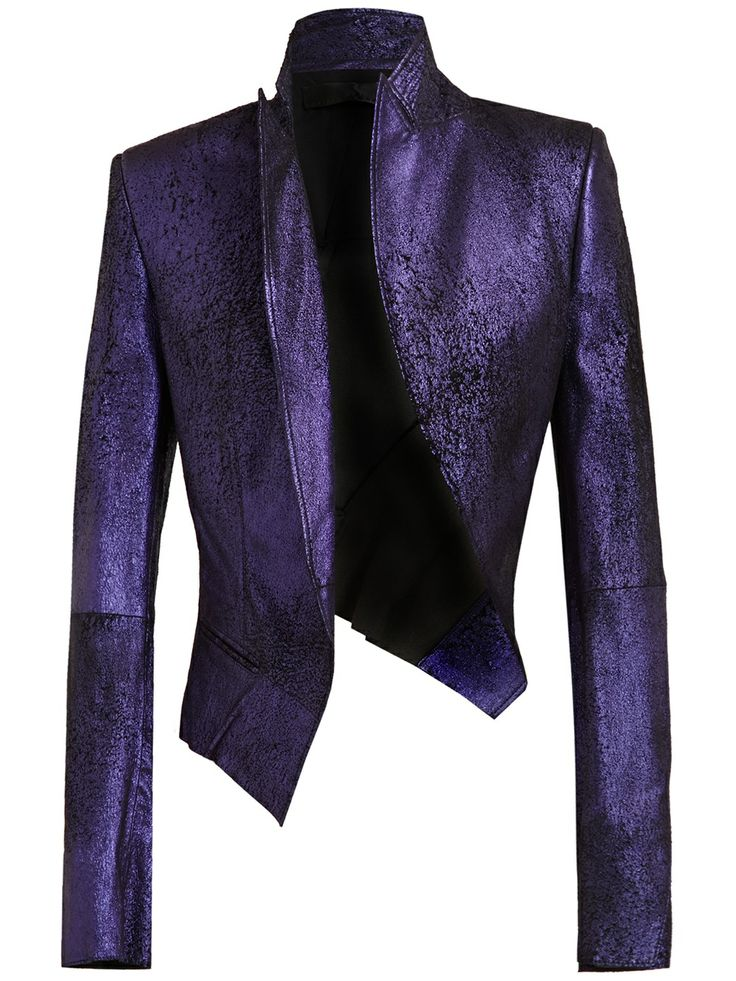 Haider Ackermann Distressed Metallic Leather Jacket
