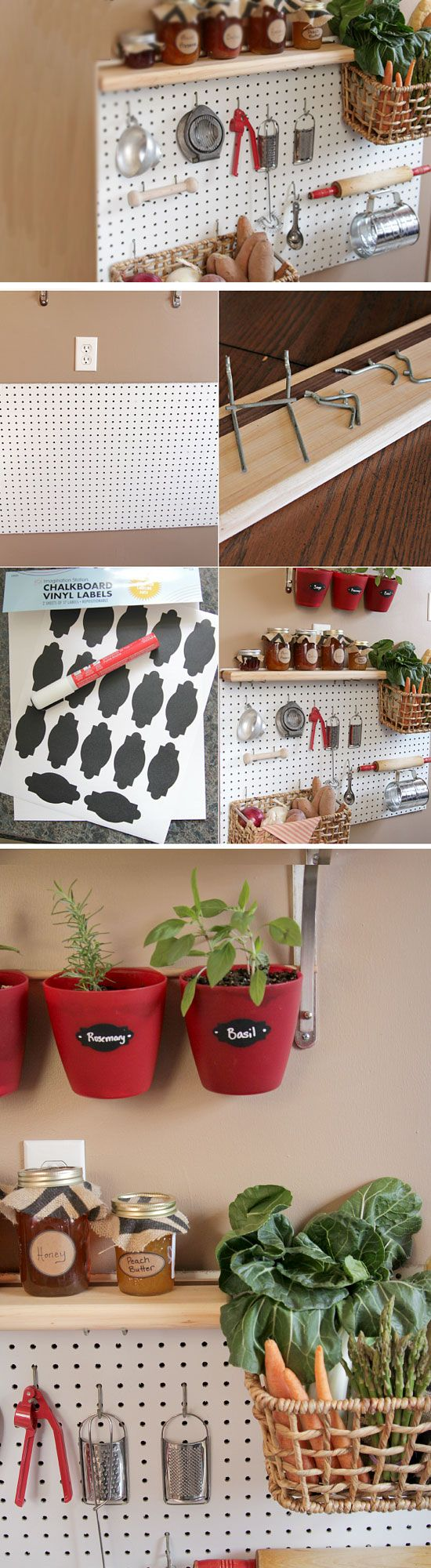 Pegboard Storage System | Click Pick for 24 DIY Organization Ideas for The Home | DIY Storage Ideas for Small Spaces