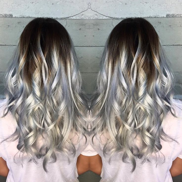 High Contrast Icy Silver Color Melt Hair Color