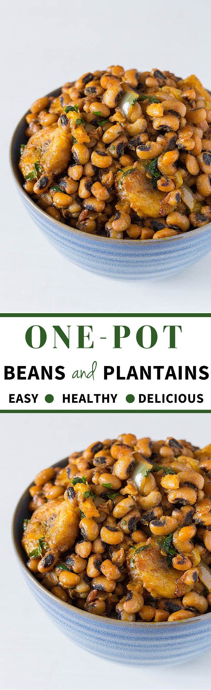 One Pot Beans and Plantains Recipe. black-eyed beans and plantains recipe with palm oil (bean and plantain pottage) is finger-licking street food at its best. - recipesfromapantry.com  { African recipe, gluten-free recipe, black-eyed bean recipe}