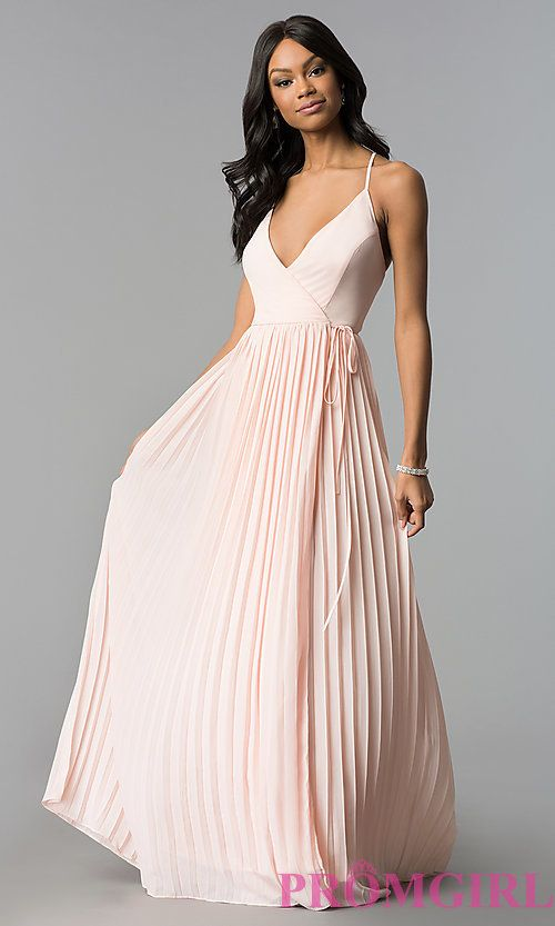 Long Pleated Chiffon Wrap Prom Dress With Corset Dresses