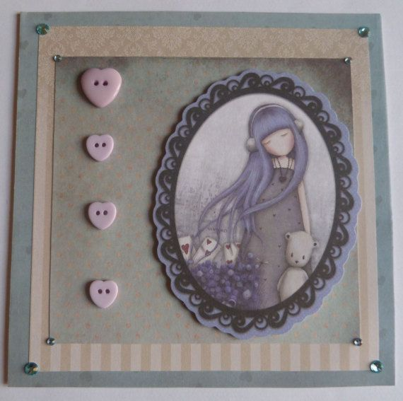 Alice Birthday Card, Handmade Card With The Buttons, Santoro Card, Blue Haired Girl, Lavender Card, Home Decor, Any Occasion Card, OOAK Card