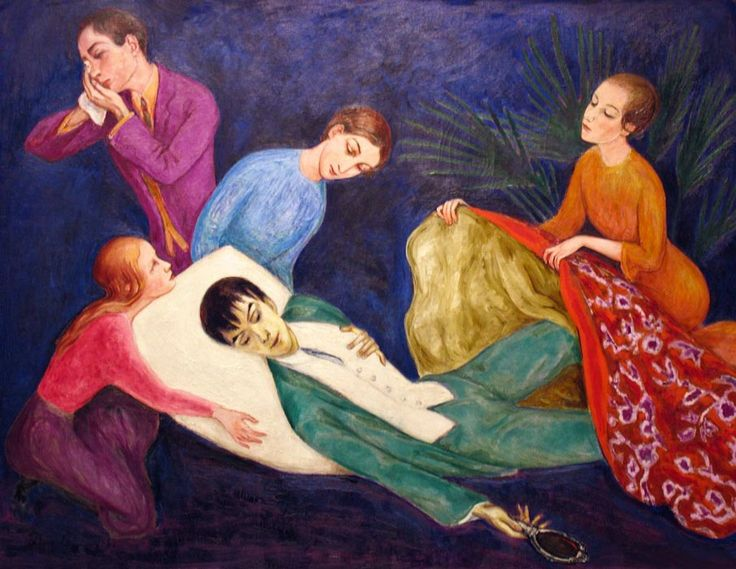 Nils Dardel, dying dandy (1918)... not quite a bisexual 'dandy' myself, but I DO love me some Oscar Wilde, and a bit of Bowie and Morrissey. :)