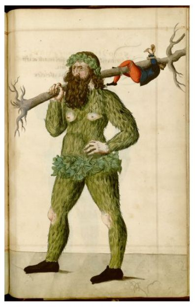 """Illustrations from a 16th century manuscript detailing the phenomenon of Nuremberg's Schembart Carnival, (literally """"bearded-mask"""" carnival)."""