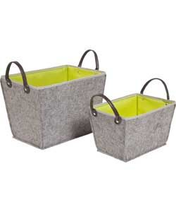 Set of 2 Felt Storage Boxes with Handles - Green.