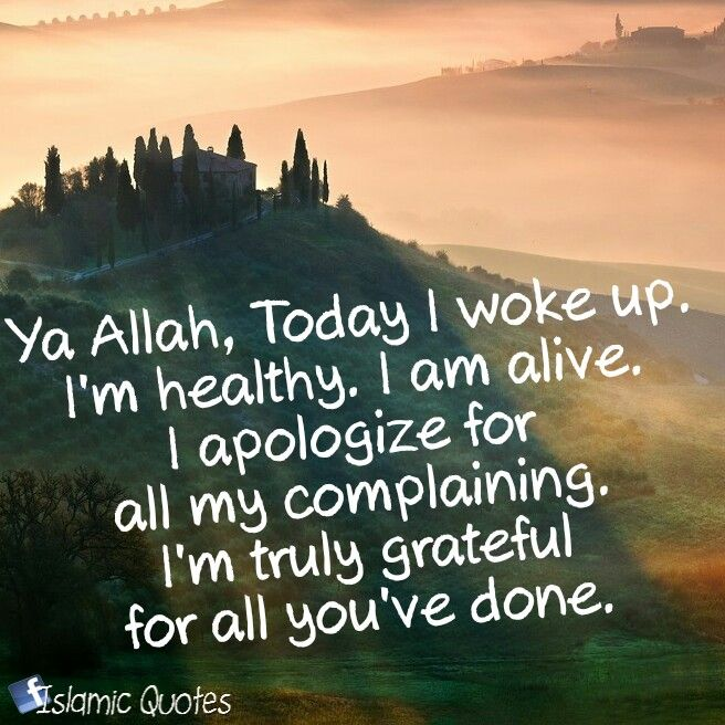 Ya Allah, Today I woke up. I'm healthy. I am alive. I apologize for all my complaining. I'm truly grateful for all you've done.