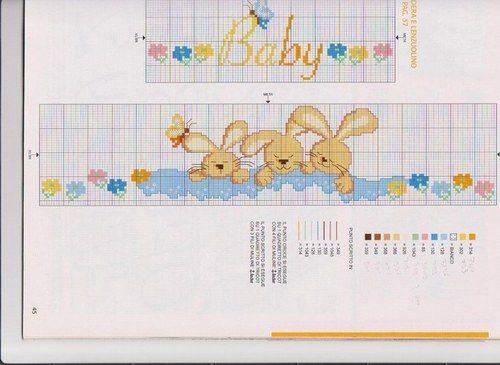 Schemi punto croce per bavaglino - Coniglietti