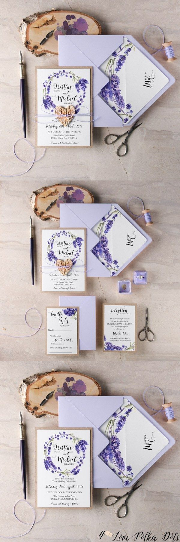 Lavender purple watercolor wedding invitations