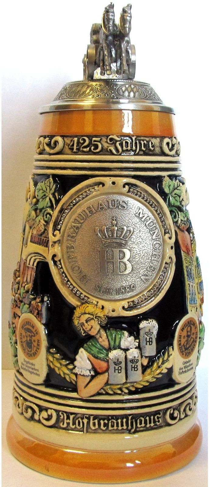 Hofbrauhaus 425th Year Anniversary with Beer Wagon Lid LE German Beer Stein 1 L