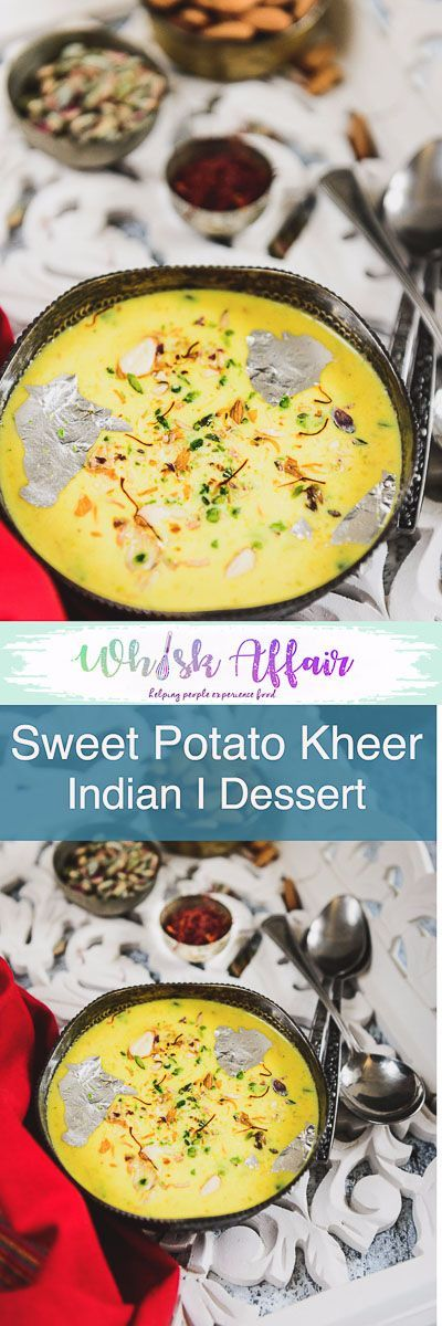Made from Sweet Potato, Milk and sugar, Sweet Potato Kheer Recipe is a delicious Indian sweet or dessert which is perfect to serve for festivals or any special occasion. It is also gluten-free and can be served for Farahar. navratri, Shivratri, Janamashtami, Falahar, Fast, Fasting, Vrat, Easy, simple, quick, best, gluten free via @WhiskAffair