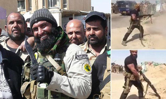 """#DailyMailUK .... """"Terrifying celebrity fighter Abu Azrael seen in combat near Fallujah.. The famous militant filmed using a heavy machine gun on the frontline.. Iraqi government forces and paramilitary groups trying to retake the city of Fallujah from ISIS."""".... http://www.dailymail.co.uk/news/article-3631941/ISIS-worst-nightmare-Axe-wielding-Angel-Death-surfaces-outside-Fallujah-vows-pulverise-militants-besieged-Iraqi-city.html#ixzz4B1ZYYjSl"""