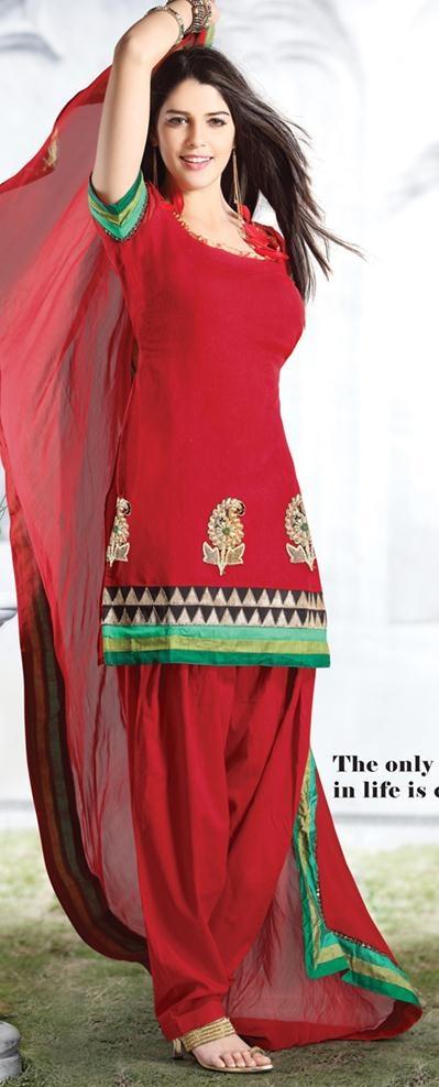 Red Short Sleeve Cotton Short Length Punjabi Salwar Kameez 21232 in 2019  Salwar Kameez  Red