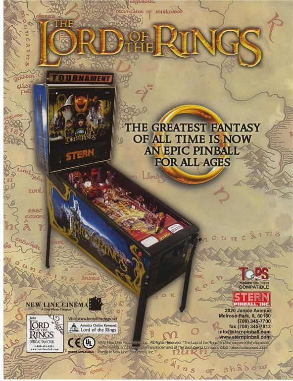 LORD OF THE RINGS By Stern 2003 ORIGINAL NOS Flipper Pinball Machine Promo FLYER #LordOfTheRings #PinballFlyers #FlipperGame