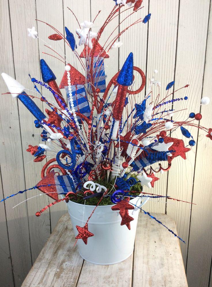 Patriotic Floral Arrangemnet,4th of July Centerpiece, Americana centerpiece, 4th of July Wreath decor, patriotic centerpiece,USA arrangement by Keleas on Etsy https://www.etsy.com/listing/291687189/patriotic-floral-arrangemnet4th-of-july