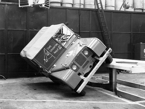 A pre-production L46 being tested in the Engineering and Development Department at Solihull in 1948.     Safe Operating Angle is at 30 Degrees.