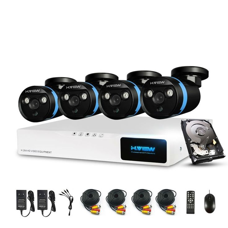 439.99$  Buy here - http://alio5x.worldwells.pw/go.php?t=32611576611 - H.View Security Camera System 4ch CCTV System DVR Security System  4CH 1TB 4 x 1080P Security Camera 2.0mp Camera DIY Kits