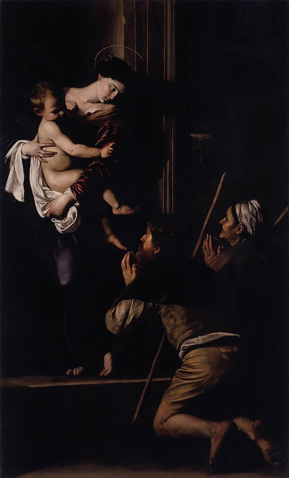 Caravaggio dipinse questa Madonna dei Pellegrini, opera che si trova nella chiesa di Sant'Agostino, Roma