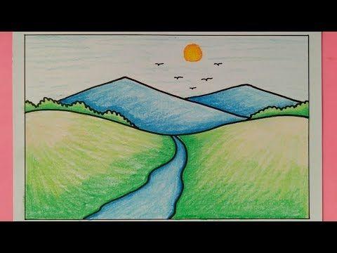 Cara Menggambar Pemandangan Gunung Mudah Sekali How To Draw Easy Scenery Youtube Pemandangan Gambar Painting