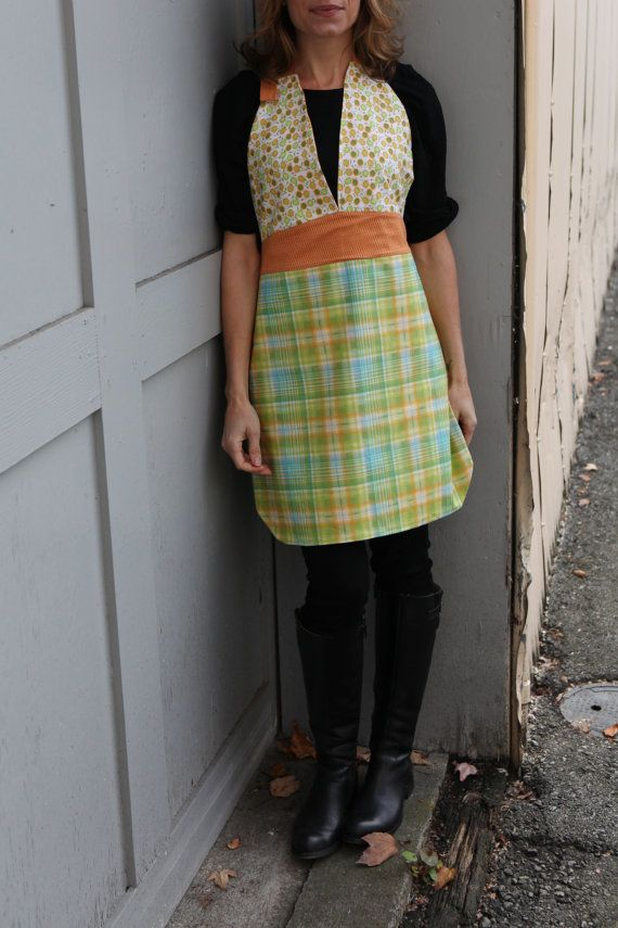 Friday Night Apron  Reversible Orange/Blue/Plaid by QuiltsbyNona, $27.00
