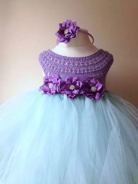 vestido crochet y tul vestidos crochet ni as pinterest crochet. Black Bedroom Furniture Sets. Home Design Ideas