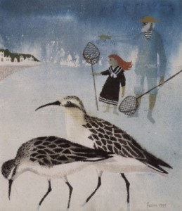 Sandpipers by Mary Fedden. Excellent high quality blank art greeting card for bird lovers, winter season and most occasions.