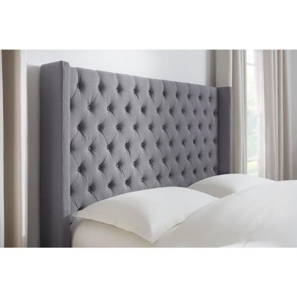 Home Decorators Collection Hillcott Charcoal Gray Upholstered King Bed With Tufted Back And Wingback Detail 85 In W X 61 8 In H King Beds Upholstered Beds King Bedding Sets