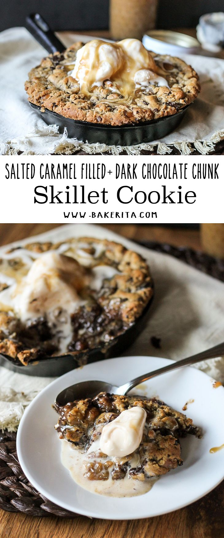 This Salted Caramel Filled Dark Chocolate Chunk Skillet Cookie recipe will fill all of your skillet cookie sundae cravings! Skip the Pizookie and make your own homemade version.
