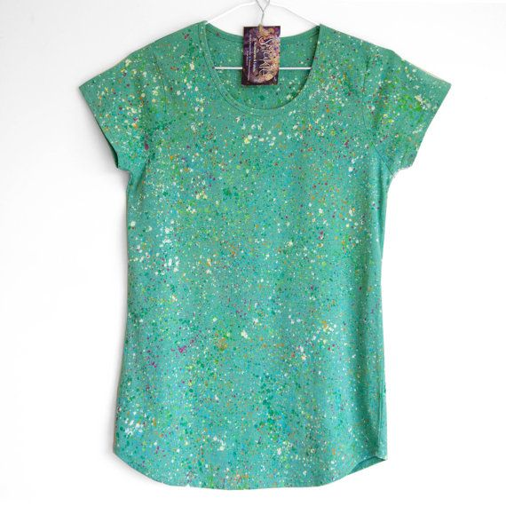 GREEN SPECKLE. Hand painted cotton T shirt for woman or girl. Unique t shirts.