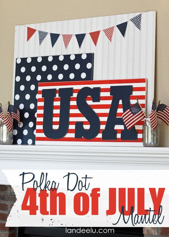 Polka Dot 4th of July Mantel Idea from Landeelu DIY tutorial with free printable