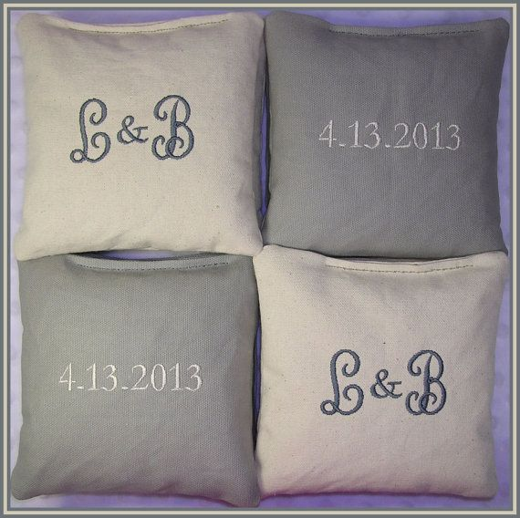Wedding Cornhole Bags Personalized Set of 8 by lollipopstitches, $35.00
