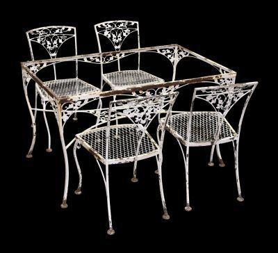 vintage iron dining room table u0026 chairs
