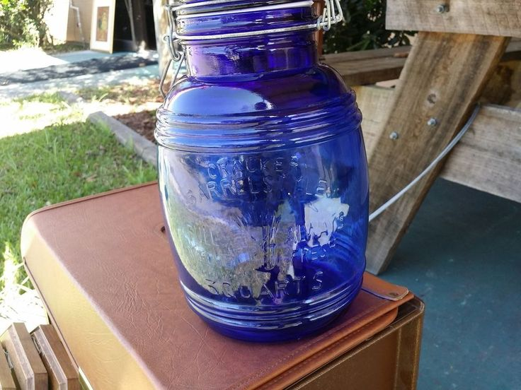 Vintage Cracker Barrel Style Cobalt Blue 3 Quarts Glass