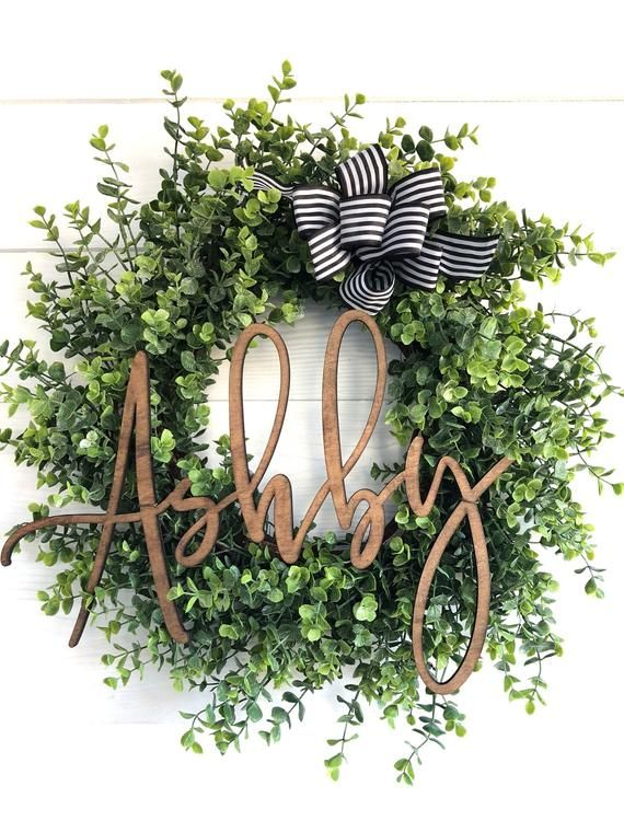 Personalized Decor Custom Name Eucalyptus Wreath Wedding Gift New Home Gift Farmhouse Wreath For In 2020 Farmhouse Wreath Decor Farmhouse Wreath Wreath Decor