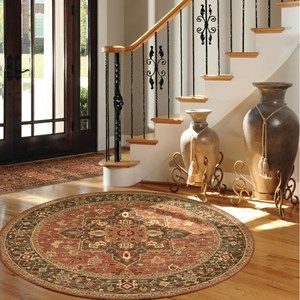 Living Treasure Circular Rugs LI04 in Ivory Red - Free UK Delivery - The Rug Seller