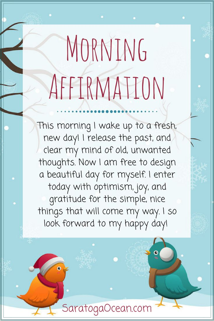 Here's a morning affirmation to set your mood in a happy, positive direction. Be optimistic, and notice all of the nice, small things that come your way each and every day. Appreciation and gratitude are wonderful, emotional elixirs of happiness! <3
