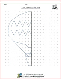 Line Symmetry Balloon picture with one line of symmetry, printable geometry worksheets