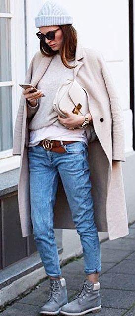 #winter #fashion /  Grey Beanie + Light Coat + Cropped Denim + Grey Booties