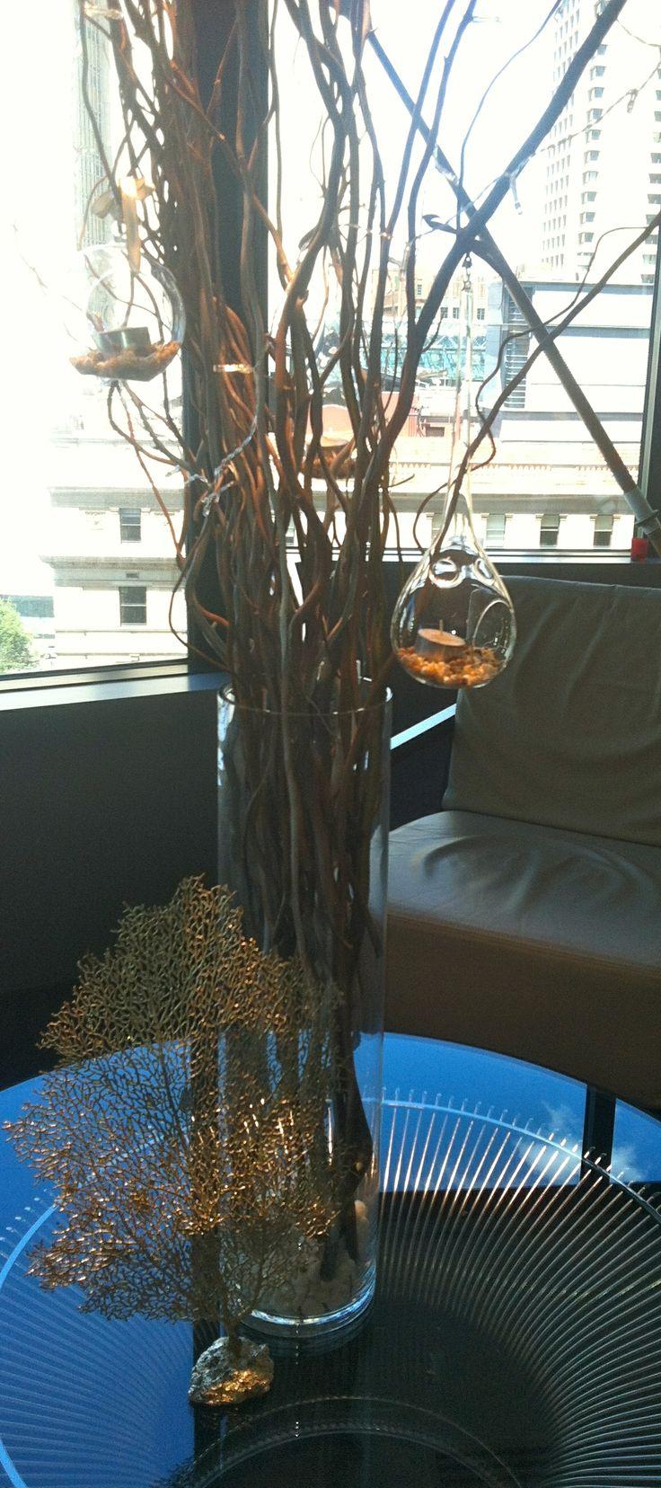 Birch with shells in teardrop glass