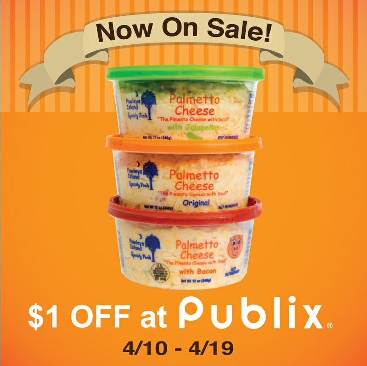 Now is the perfect time to stock up on Palmetto Cheese for Easter. Starting today, Palmetto Cheese is on sale at ALL Publix locations for $1.00 OFF until April 19, 2014. No coupon is necessary! Publix carries all three varieties of Palmetto Cheese – Original, Jalapeno, and Bacon.
