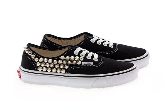 Studded Vans Silver cone studs with Black vans / One by customduo, $105.00