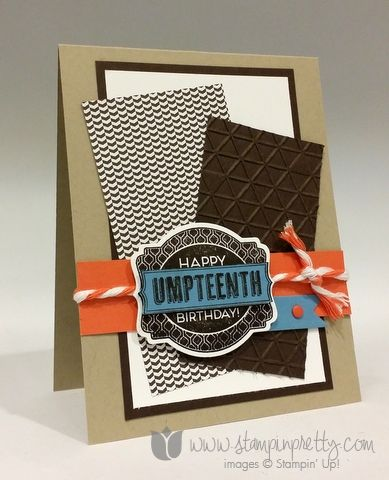 SU! Oh My Goodies stamp set (2014 catalog); Deco Labels Framelits; Tiny Triangles embossing folder; Neutrals DSP pack; colors are Early Espresso, Crumb Cake, Tangerine Tango and Marina Mist - Mary Fish
